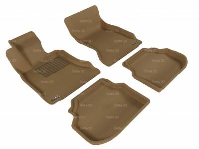 Коврики салона 3D LUX Sotra для BMW 5** F10 2009-2013, 2 ряда 5 частей, чёрный и бежевый цвет