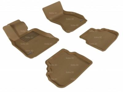 Коврики салона 3D LUX Sotra для BMW 7** F01 SWB RWD 2008-2012, 2 ряда 5 частей, чёрный и бежевый цвет