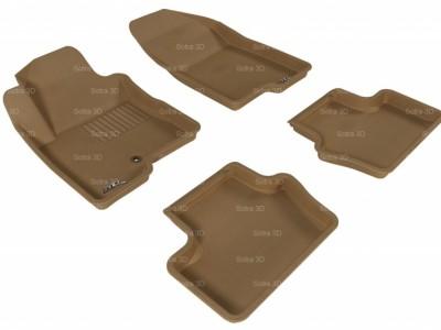 Коврики салона 3D LUX Sotra для Jeep Compass 2006-2013, 2 ряда 4 части, чёрный цвет