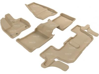 Коврики салона 3D LUX Sotra для Ford Explorer V 2010-2015 (U502), 3 ряда 4 части (без консоли) (7 мест), чёрный цвет