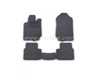 Коврики в салон (Novline) для Ford Ranger RAP Cab 2011-н.в., 5 шт. (текстиль, чёрные, серые, бежевые)