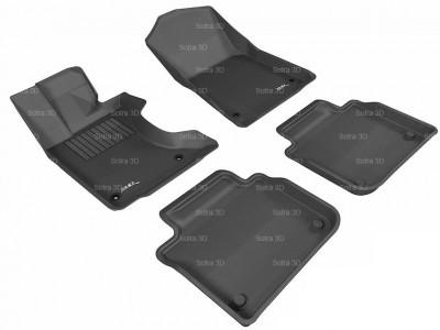 Коврики салона 3D LUX Sotra для Lexus GS (L10) 4WD 2012-н.в., 2 ряда 5 частей, чёрный и бежевый цвет
