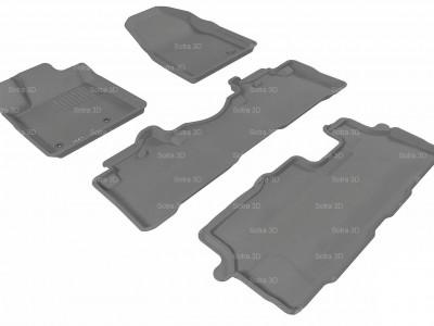 Коврики салона 3D LUX Sotra для Honda Pilot 2008-н.в., 3 ряда 4 части, чёрный цвет