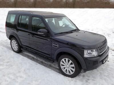 Пороги алюминиевые с пластиковой накладкой (карбон черные) 1820 мм для Land Rover Discovery IV, 2009-2016 (TCC)