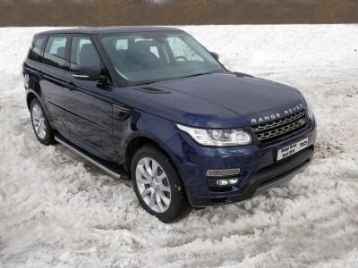 Пороги алюминиевые с пластиковой накладкой (карбон серебро) 1920 мм для Land Rover Range Rover Sport, 2013-н.в. (TCC)