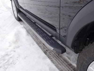 Пороги алюминиевые с пластиковой накладкой (карбон серые) 1820 мм для Land Rover Discovery IV, 2009-2016 (TCC)