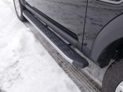 Пороги алюминиевые с пластиковой накладкой (карбон серебро) 1820 мм для Land Rover Discovery IV, 2009-2016 (TCC)