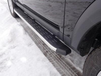 Пороги алюминиевые с пластиковой накладкой (алюминий) 1820 мм для Land Rover Discovery IV, 2009-2016 (TCC)