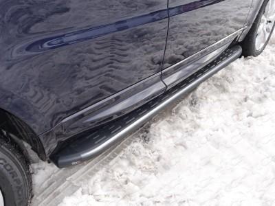 Пороги алюминиевые с пластиковой накладкой (карбон серые) 1920 мм для Land Rover Range Rover Sport, 2013-н.в. (TCC)