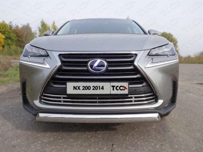 Защита передняя нижняя (овальная) 75х42 мм. Решетка радиатора 16 мм для Lexus NX, 2014-н.в. (ТСС)