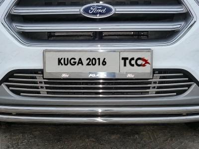 Рамка номера (комплект). Решетка радиатора 12 мм. Защита передняя нижняя (двойная) 42,4/42,4 мм для Ford Kuga 2016- н.в. (TCC)