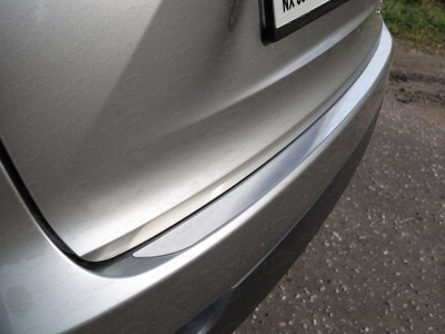 Накладка на задний бампер (лист шлифованный) для Lexus NX, 2014-н.в., (ТСС)