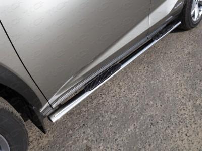 Пороги овальные с накладкой 75х42 мм для Lexus NX, 2014-н.в., (ТСС)
