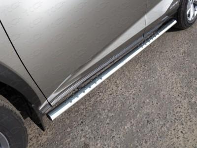 Пороги овальные с проступью 75х42 мм для Lexus NX, 2014-н.в., (ТСС)