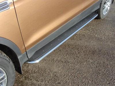 Пороги с площадкой (нерж. лист) 42,4 мм для Ford Kuga 2016- н.в., (TCC)