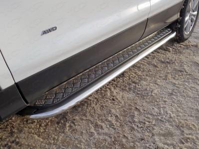 Пороги с площадкой 75х42 мм для Ford Kuga 2016- н.в., (TCC)
