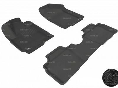 Коврики салона 3D LUX Sotra для Kia Soul (PS) 2013-н.в., 2 ряда 3 части, чёрный цвет