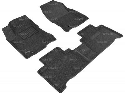 Коврики салона 3D LUX Sotra для Lexus NX 2014-н.в., 2 ряда 3 части, чёрный и бежевый цвет