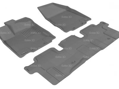 Коврики салона 3D LUX Sotra для Infiniti JX35 (QX60) 2012-н.в./ Nissan Pathfinder 2014-н.в., 2 ряда 3 части, чёрный и бежевый цвет
