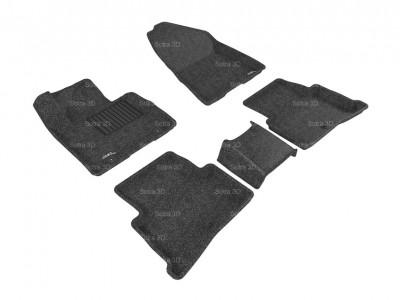 Коврики салона 3D LUX Sotra для Kia Sportage IV 2016-н.в., 2 ряда 3 части, чёрный цвет