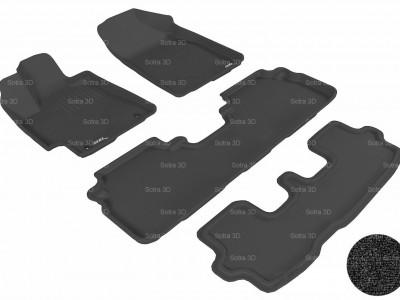 Коврики салона 3D LUX Sotra для Toyota Highlander III 2013-2016, 3 ряда 4 части, чёрный цвет