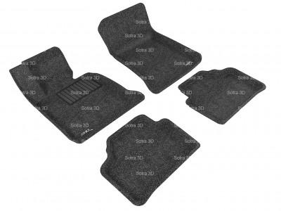 Коврики салона 3D LUX Sotra для BMW X1 E84 2012-2015, (RWD), 2 ряда 5 частей, чёрный цвет