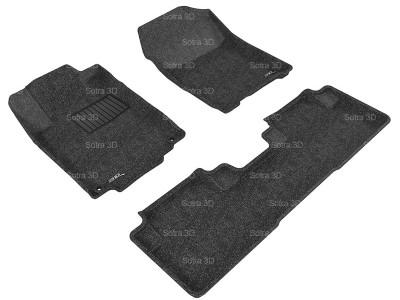 Коврики салона 3D LUX Sotra для Honda CR-V IV 5D 2012-2017, 2 ряда 3 части, чёрный цвет