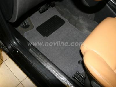 Коврики в салон (Novline) для Alfa Romeo 147 2000-2010, 4 шт. (текстиль, серые, бежевые)