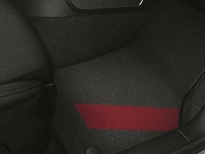 Коврики в салон (VAG) для Audi A3 8V 2012-2016, 4 шт. (текстиль, чёрные c красным декором)