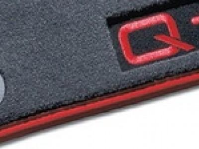 Коврики в салон (VAG) для Audi Q7 2005-2015, 4 шт. (текстиль, тёмно-серые с красной окантовкой)