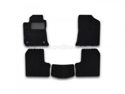 Коврики в салон (Novline) для BYD F3 2005-2013, 5 шт. (текстиль, чёрные, серые, бежевые)