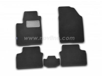 Коврики в салон (Novline) для Chery M11 sedan 2007-н.в., 5 шт. (текстиль, чёрные, серые)