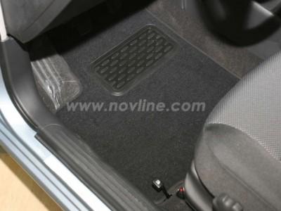 Коврики в салон (Novline) для Chevrolet Aveo sedan, hb 2008-2010, 5 шт. (текстиль, чёрные, серые, бежевые)