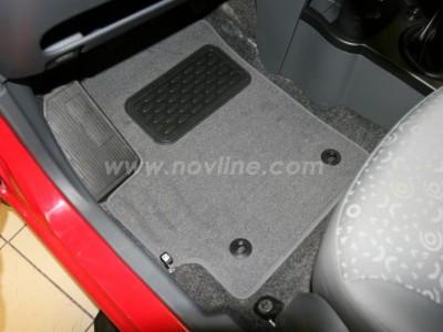Коврики в салон (Novline) для Chevrolet Spark hb 2005-2010, 4 шт. (текстиль, чёрные, серые, бежевые)