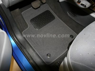 Коврики в салон (Novline) для Citroen C3 hb 2002-2009, 5 шт. (текстиль, чёрные, серые, бежевые)