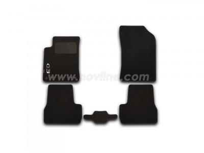 Коврики в салон (Novline) для Citroen C3 hb 2009-н.в., с логотипом, 5 шт. (текстиль, чёрные)