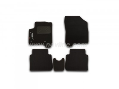 Коврики в салон (Novline) для Citroen C3 Picasso 2009-н.в., с логотипом,  5 шт. (текстиль, чёрные)