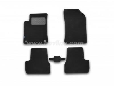 Коврики в салон (Novline) для Citroen DS3 hb 2010-н.в., 5 шт. (текстиль, чёрные, серые, бежевые)