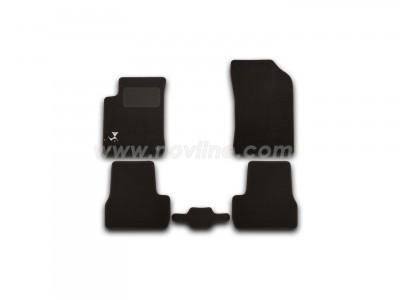 Коврики в салон (Novline) для Citroen DS3 hb 2010-н.в., с логотипом,  5 шт. (текстиль, чёрные)