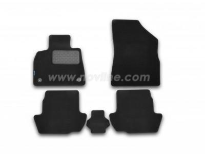 Коврики в салон (Novline) для Citroen DS5 hb 2011-н.в., 5 шт. (текстиль, чёрные, серые, бежевые)