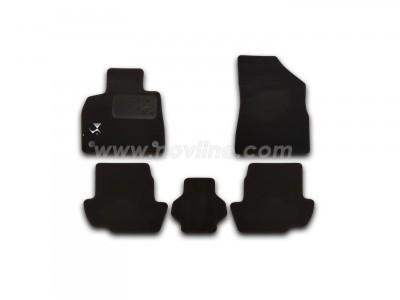 Коврики в салон (Novline) для Citroen DS5 hb 2011-н.в., с логотипом, 5 шт. (текстиль, чёрные)