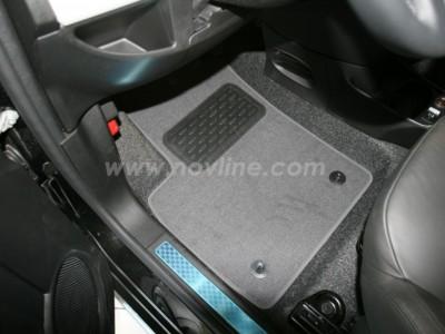 Коврики в салон (Novline) для Fiat 500 hb 2007-н.в., 4 шт. (текстиль, чёрные, серые, бежевые)