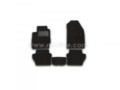 Коврики в салон (Novline) для Ford Fiesta 2012-н.в., 5 шт. (текстиль, чёрные)
