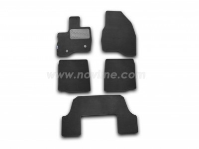 Коврики в салон (Novline) для Ford Explorer 2010-2015, 5 шт. (текстиль, чёрные, серые, бежевые)