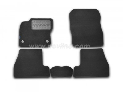 Коврики в салон (Novline) для Ford Focus III hb 2010-н.в., 5 шт. (текстиль, чёрные, серые, бежевые)