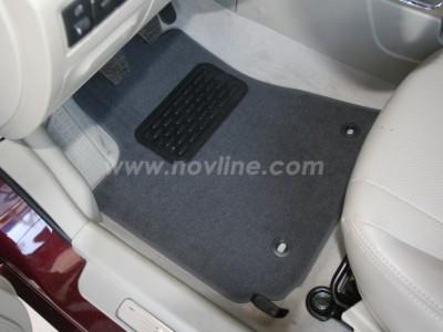 Коврики в салон (Novline) для Geely Emgrand sedan 2010-н.в., 5 шт. (текстиль, чёрные, серые)