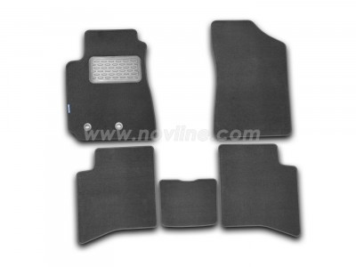 Коврики в салон (Novline) для Geely MK sedan 2008-н.в., 5 шт. (текстиль, чёрные, серые)
