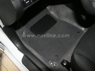 Коврики в салон (Novline) для Geely MK sedan 2011-н.в., 5 шт. (текстиль, чёрные, серые, бежевые)