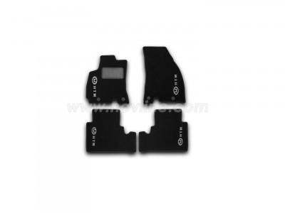 Коврики в салон (Novline) для Hawtai Boliger 2015-н.в., 5 шт. (текстиль, чёрные с логотипом)