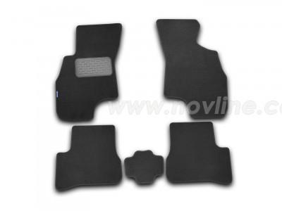 Коврики в салон (Novline) для Hyundai Accent sedan 2000-2005, 5 шт. (текстиль, чёрные, серые, бежевые)